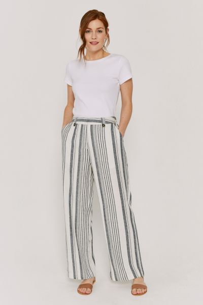 Navy Linen Stripe Trousers