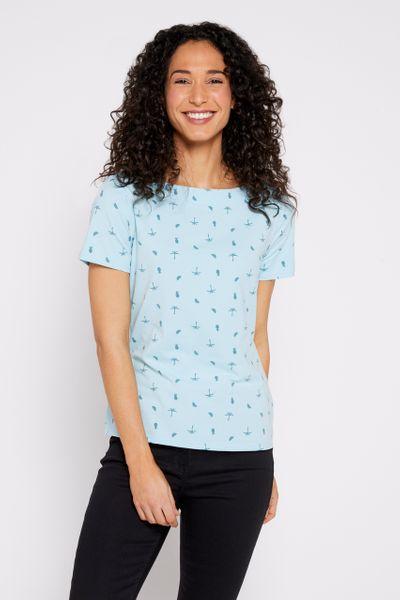 Short Sleeve Tropical Print Bardot Top