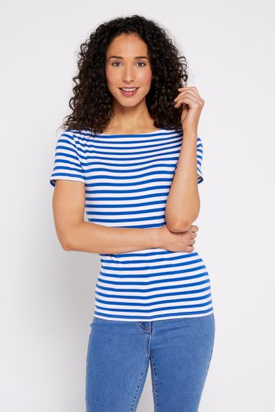 Stripe Short Sleeve Bardot Top