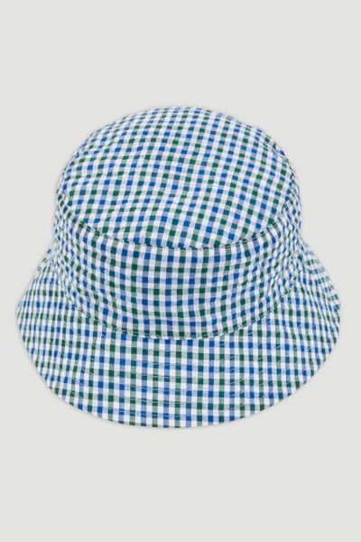 Blue Gingham Reversible Bucket Hat