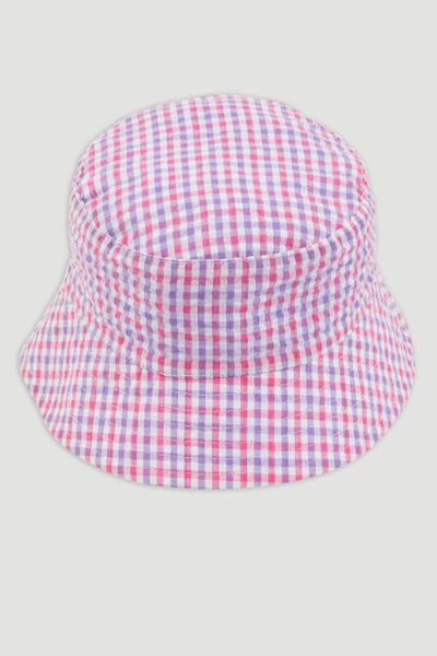 Pink Gingham Reversible Bucket Hat