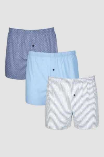 3 Pack Blue Marl Woven Boxer Shorts