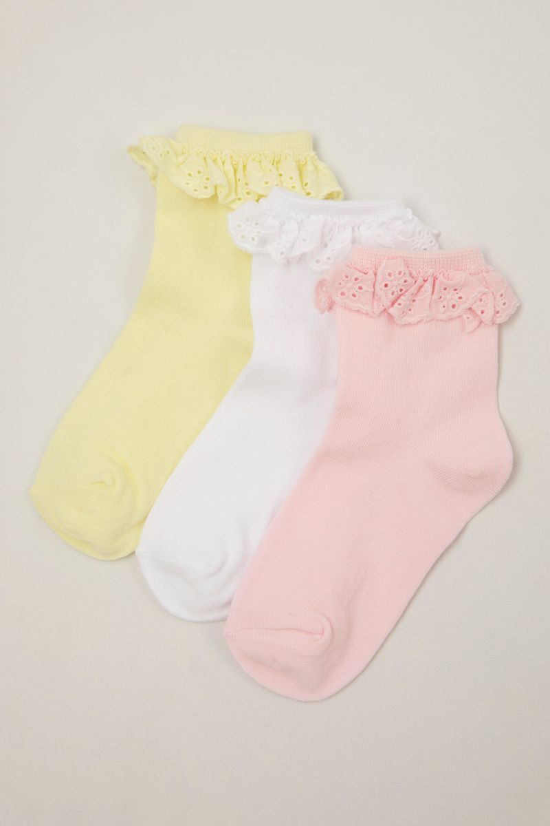 3 Pack Pastel Lace Frill Top Socks