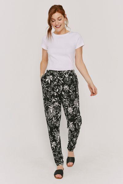 Monochrome Floral Harem Trousers
