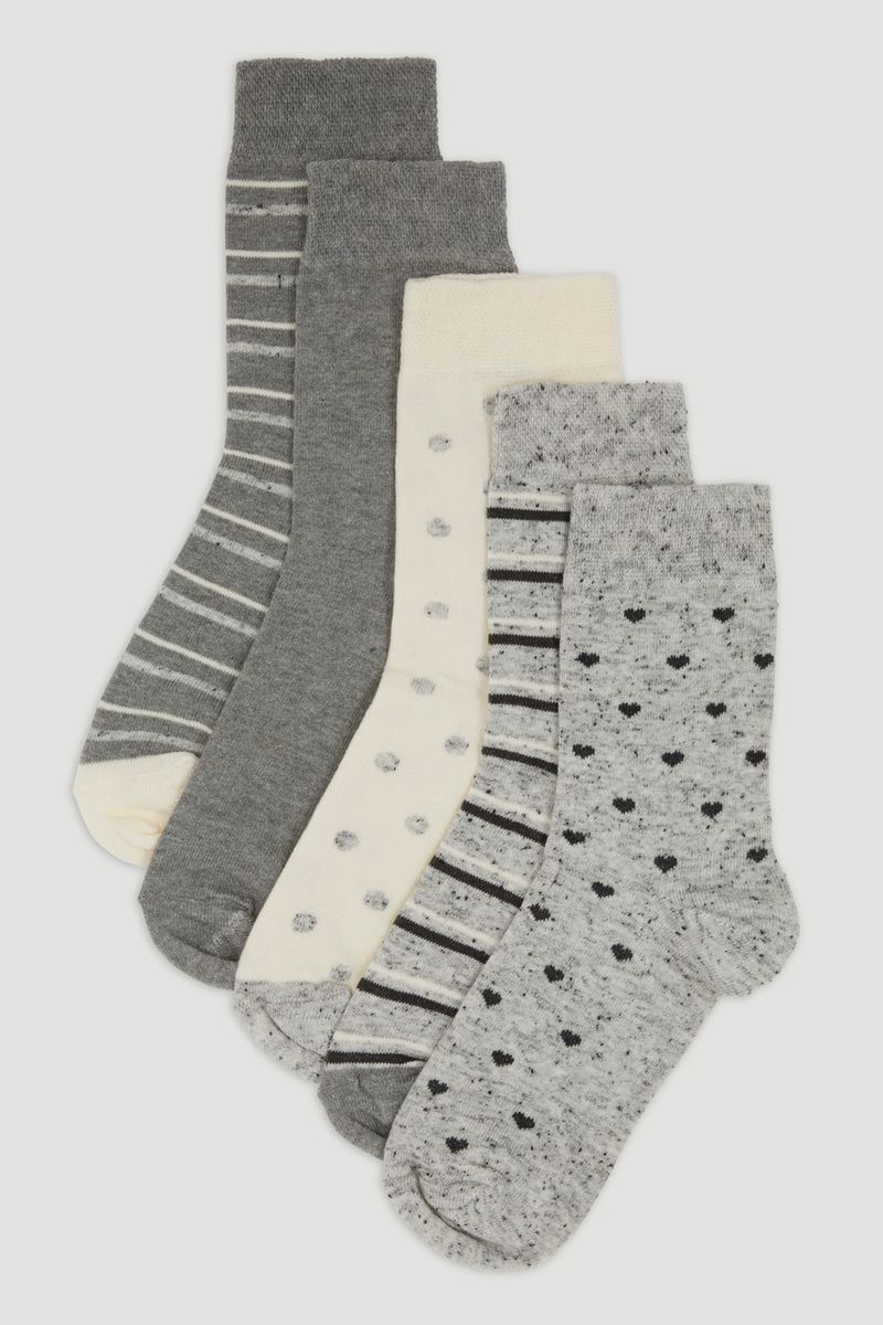 5 Pack Grey Marl Flexitop Socks