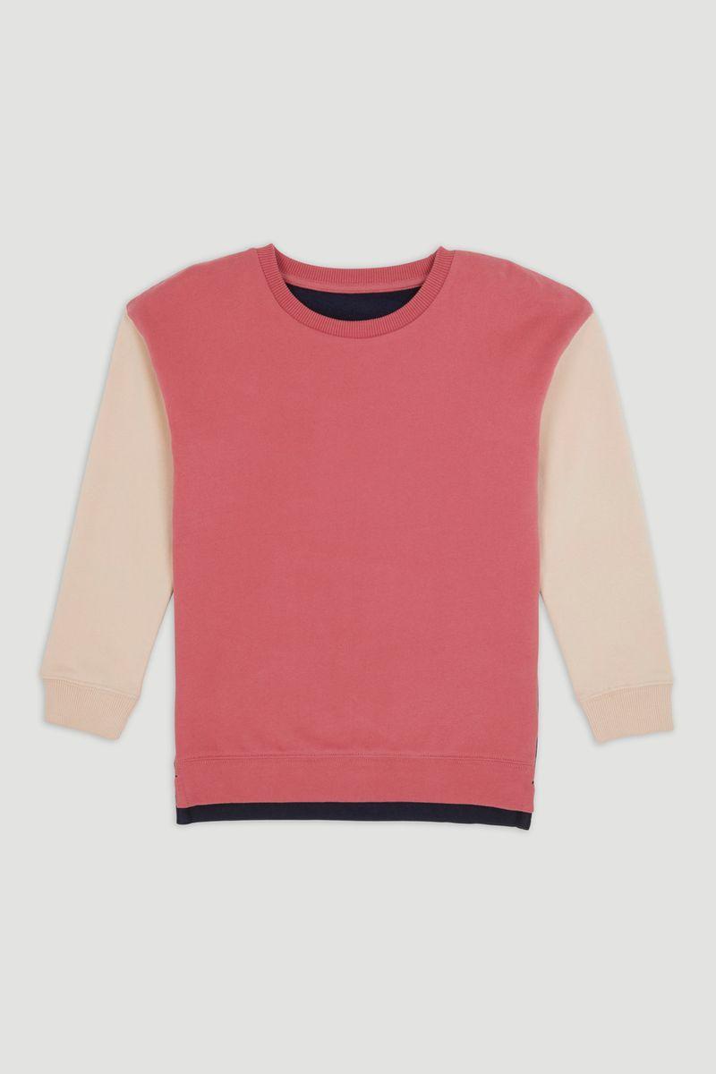 Pink Colour Block Sweatshirt