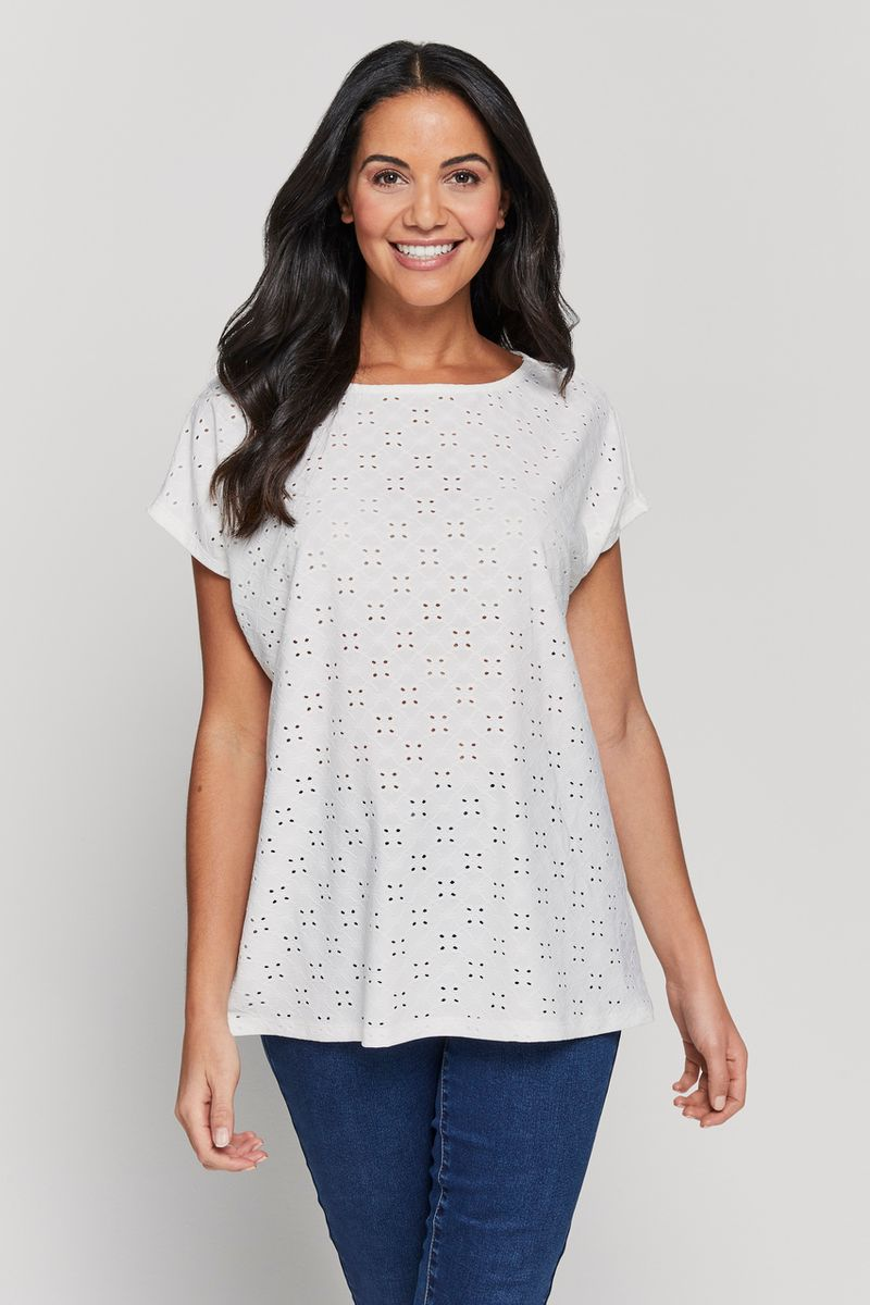 White Broderie Top