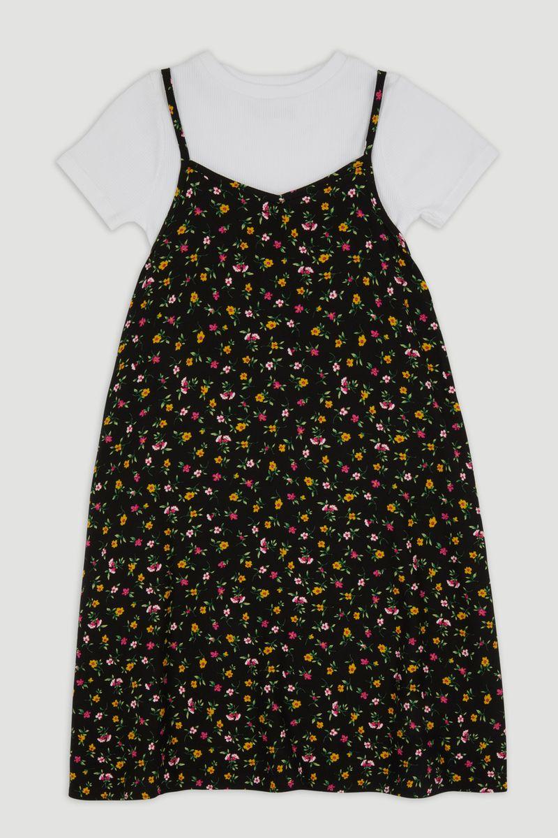 Ditsy Print Dress & T-Shirt Set