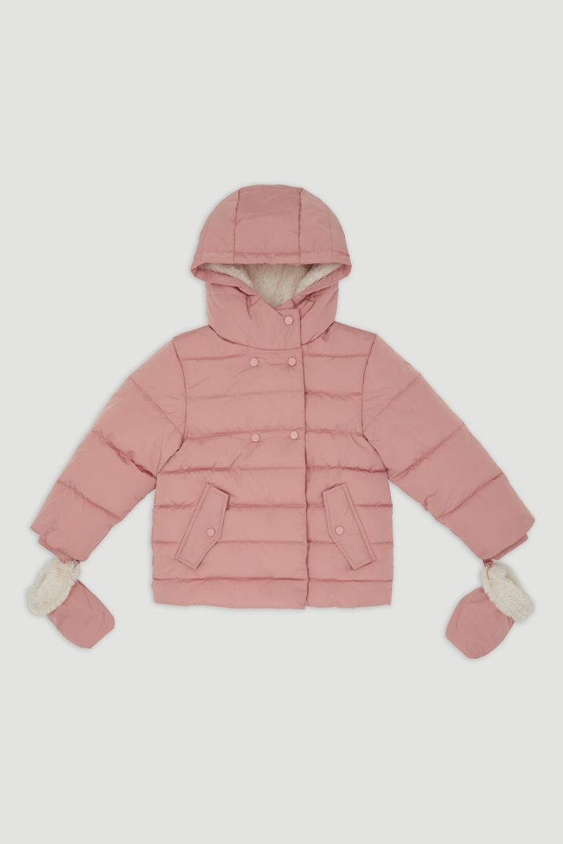 Pink Padded Coat with Mittens