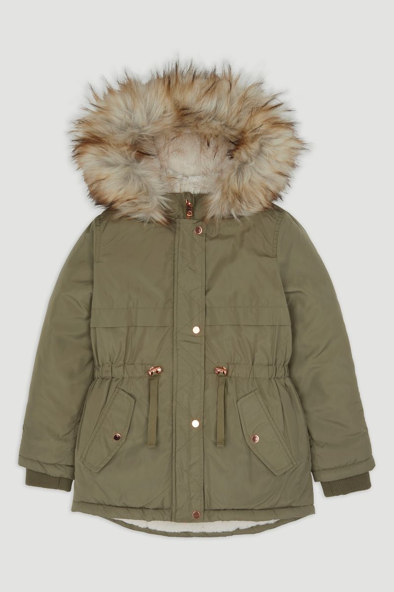 Green Faux Fur Trim Parka Coat