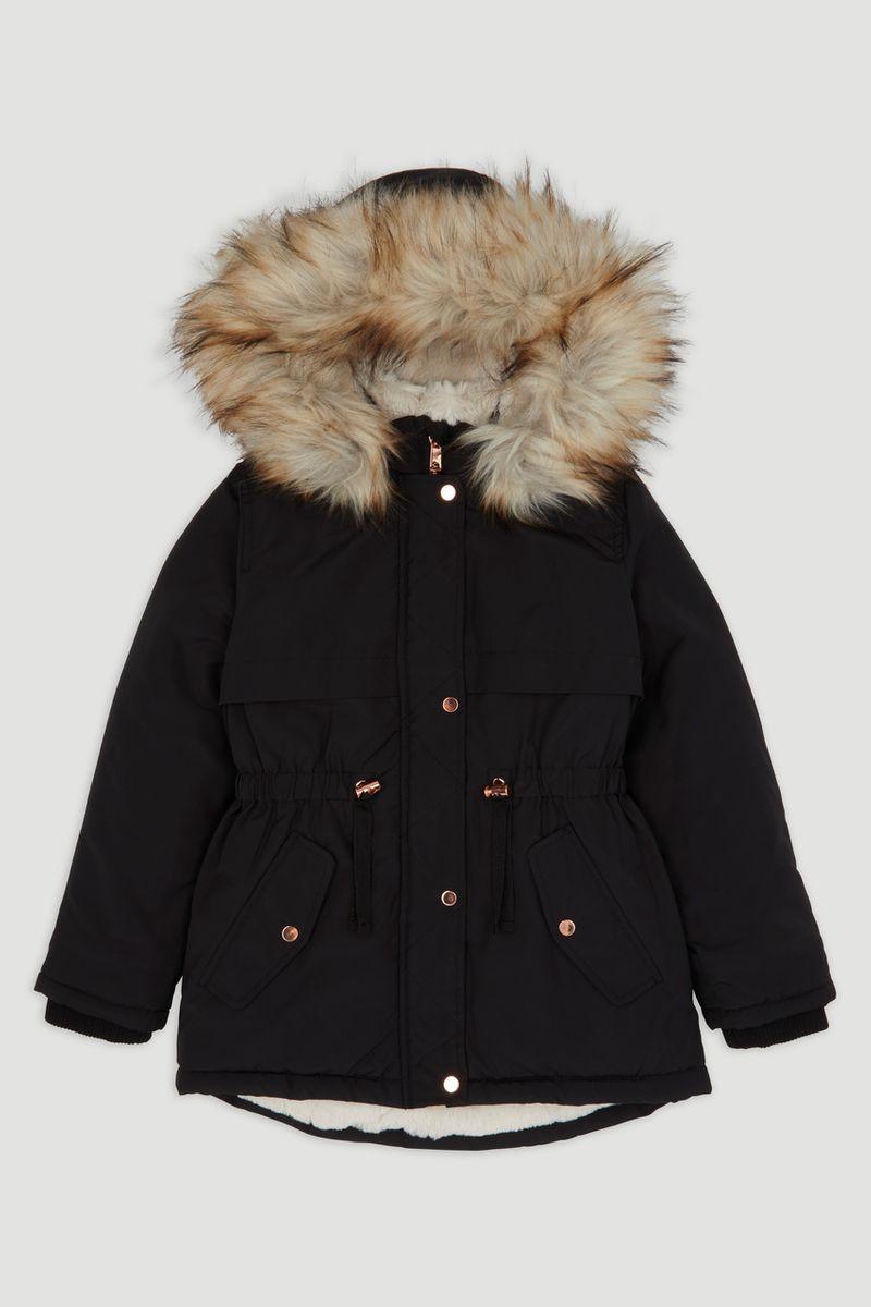 Black Faux Fur Trim Parka Coat