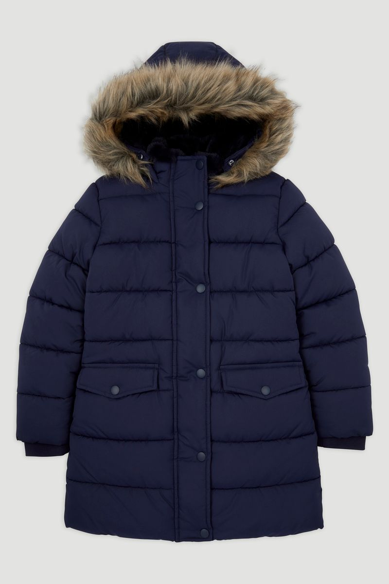 Navy Longline Padded Coat
