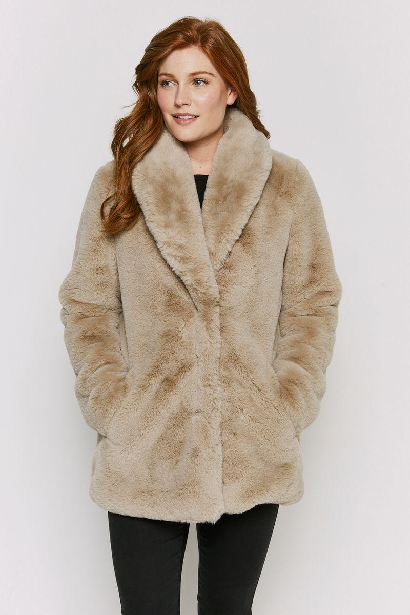 Natural Faux Fur Coat