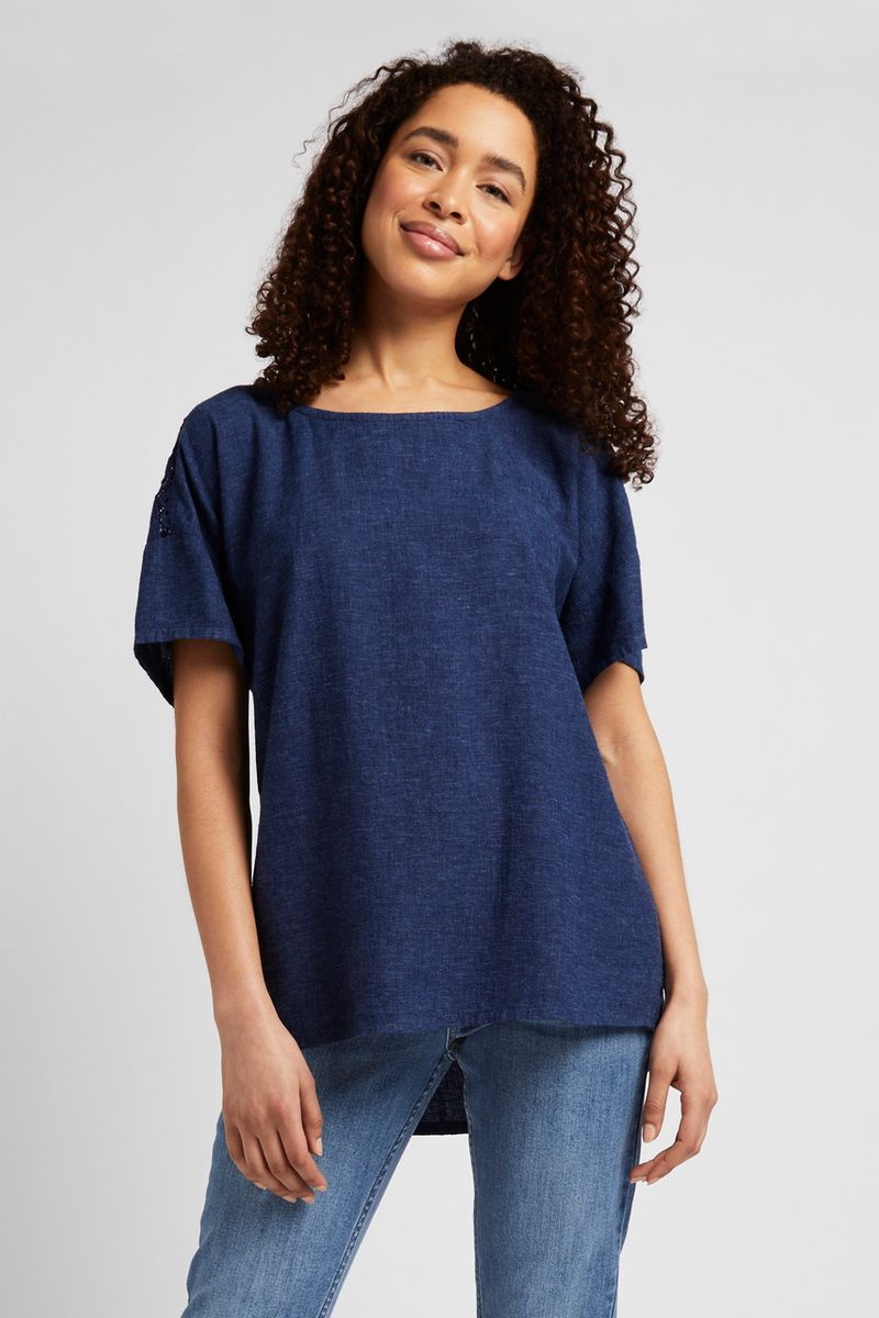 Navy Broderie Back Top