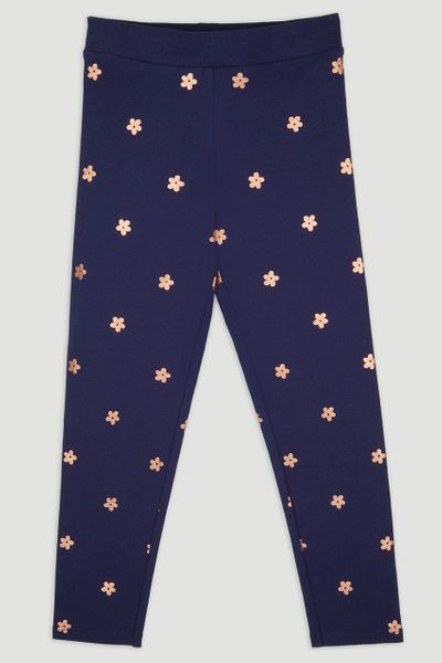 Navy Flower Foil Print Leggings