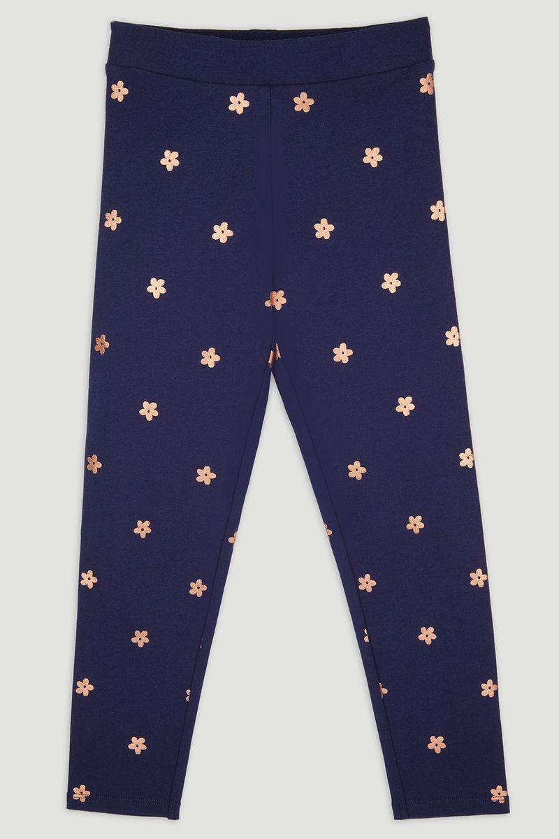 Navy Flower Foil Print Leggings