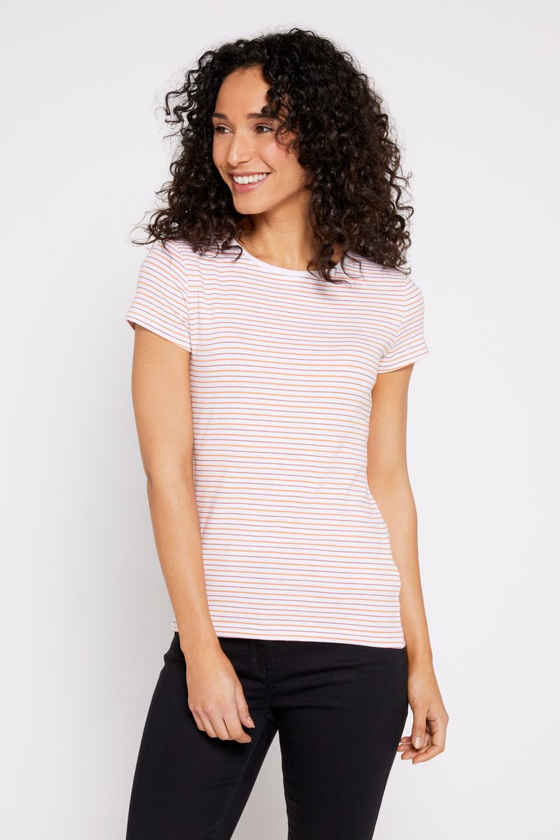 Short Sleeve Coral Stripe T-shirt