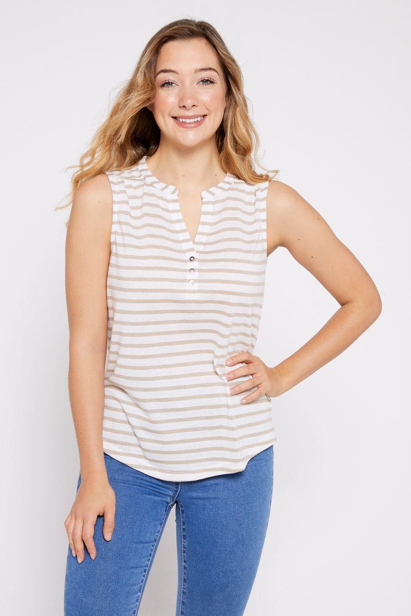 Sleeveless Henley Stripe Vest