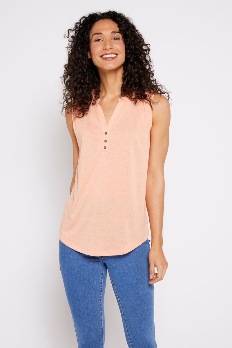 Coral Sleeveless Henley Vest