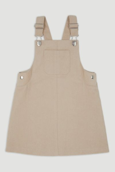 Cream Cord Pinafore Dress