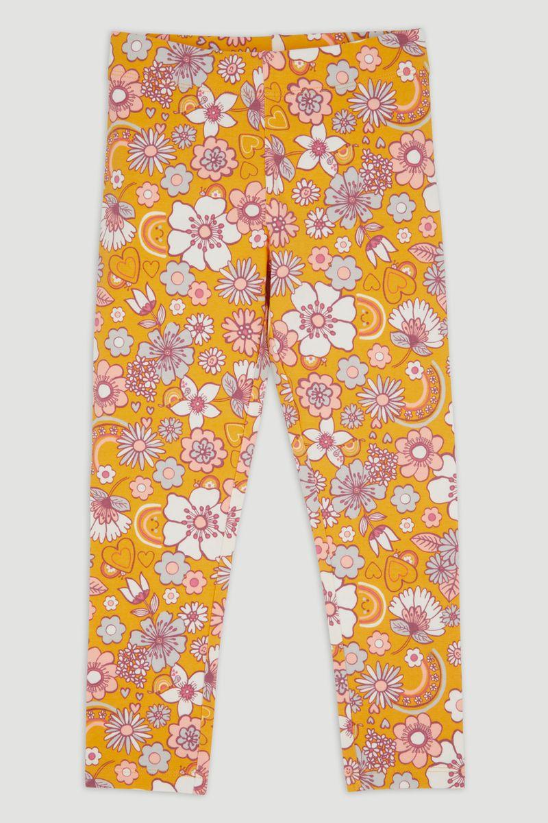 Yellow Flower Print leggings