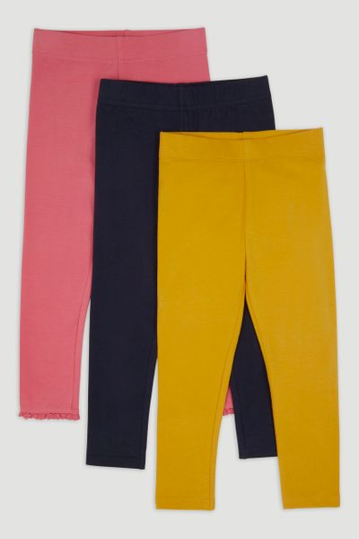 3 Pack Mustard Pink Navy Leggings