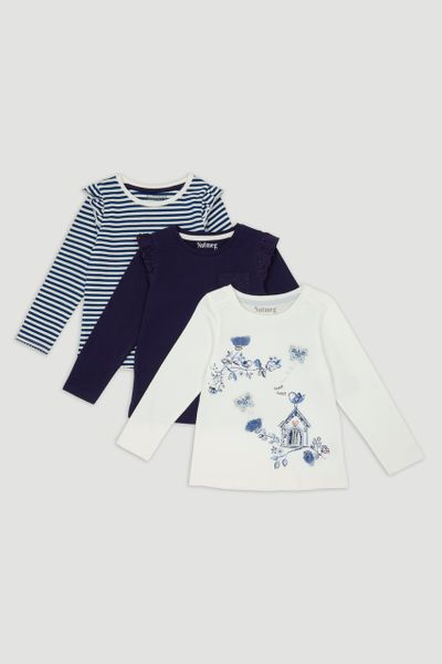 3 Pack Blue Bird Long Sleeve T-Shirts