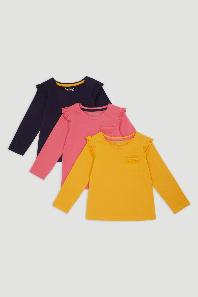 3 Pack Mustard Long Sleeve T-Shirts