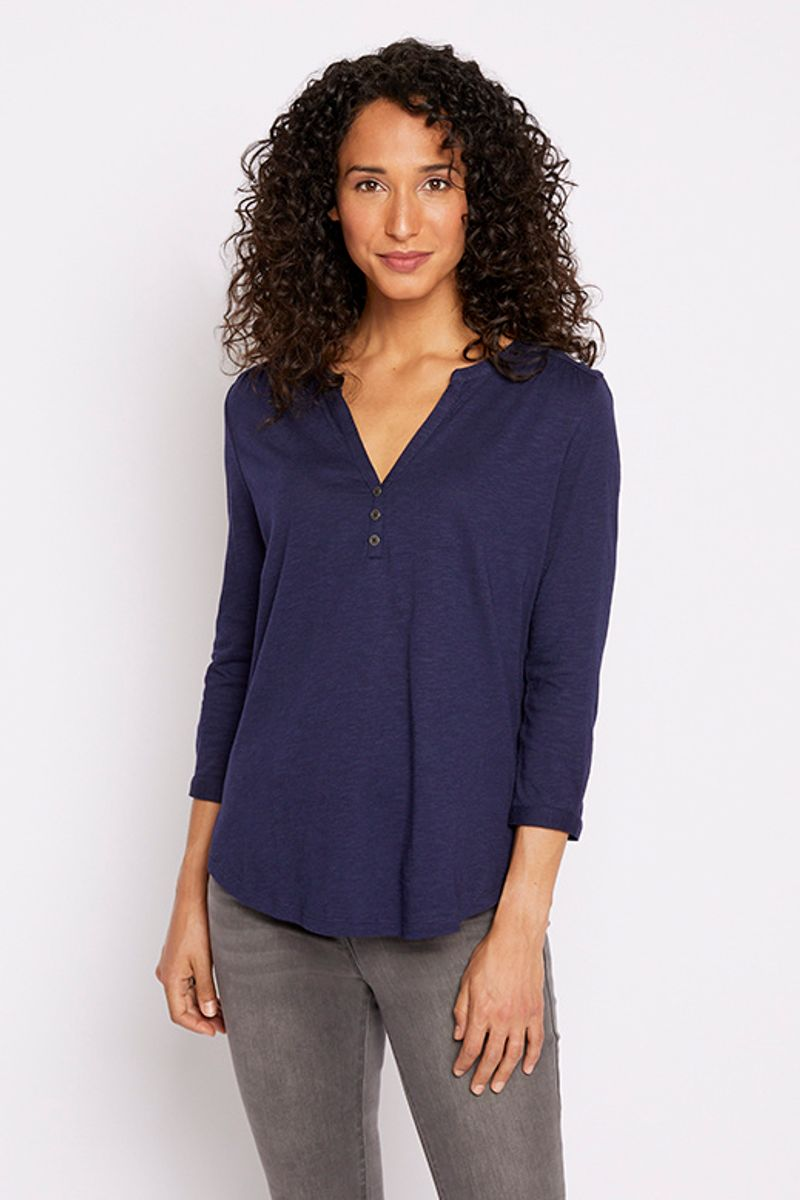 3/4 Sleeve Navy Henley Top