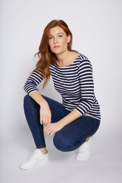 3/4 Sleeve Navy Stripe Bardot Top