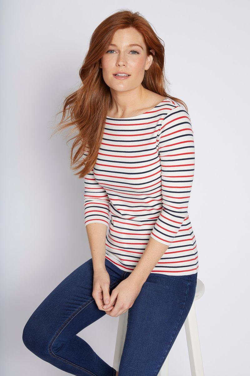 3/4 Sleeve Colourful Stripe Bardot Top
