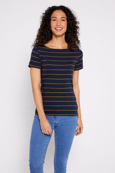 Short Sleeve Ochre Stripe Bardot