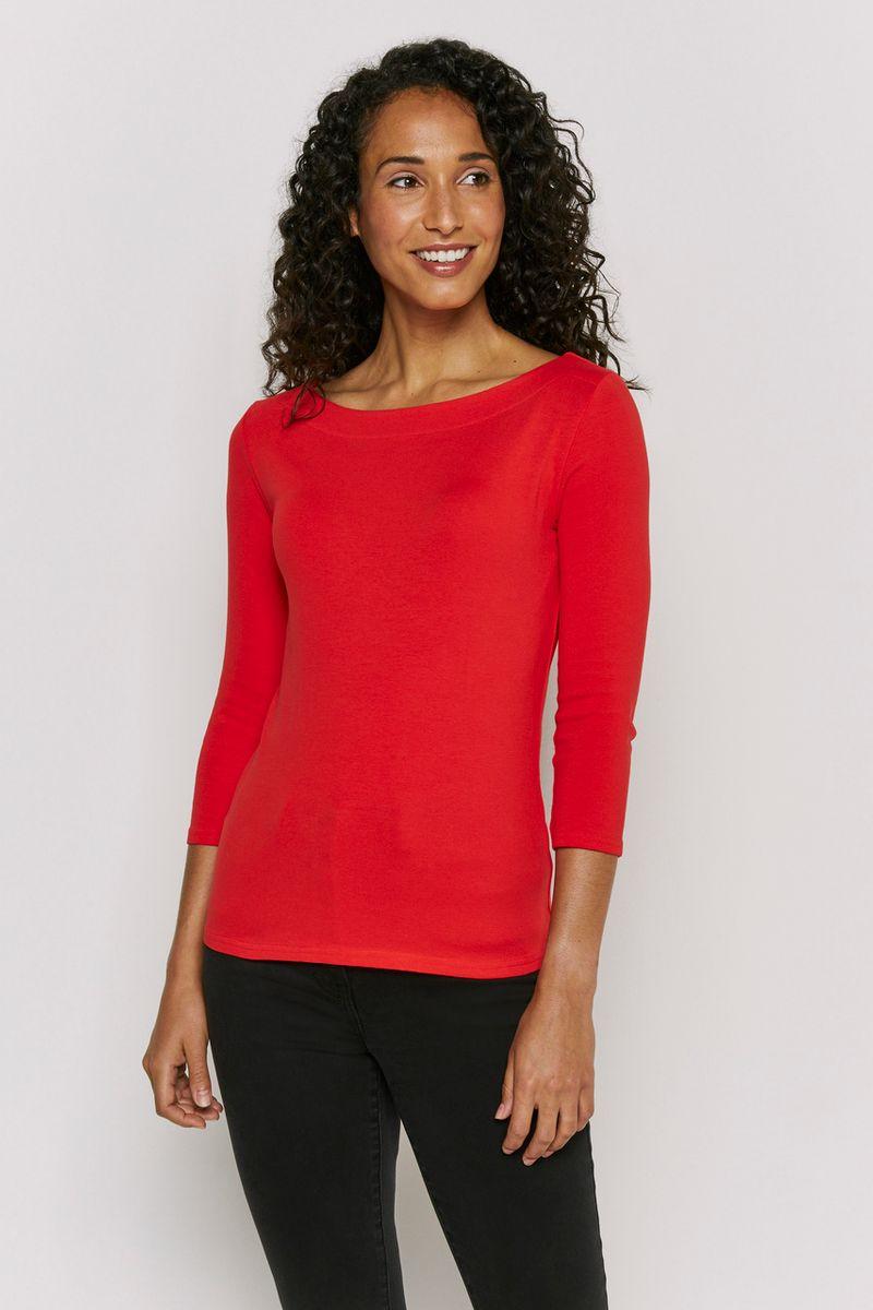 3/4 Sleeve Red Bardot Top