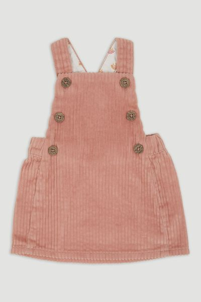 Blush Pink Cord Pinafore dress