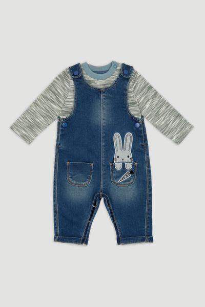Denim Rabbit Dungaree Set