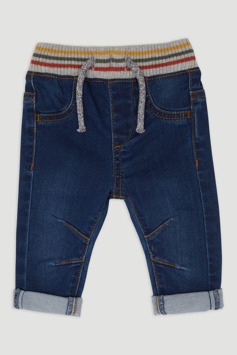 Rib Waist Pull On Jeans