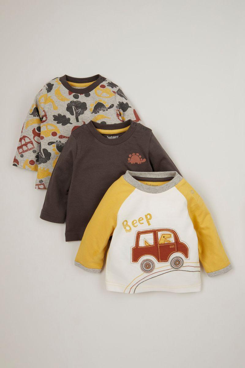 3 Pack Long Sleeve Car T-shirts