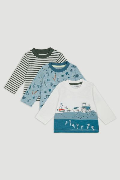 3 Pack Farm Print Long Sleeve T-Shirts