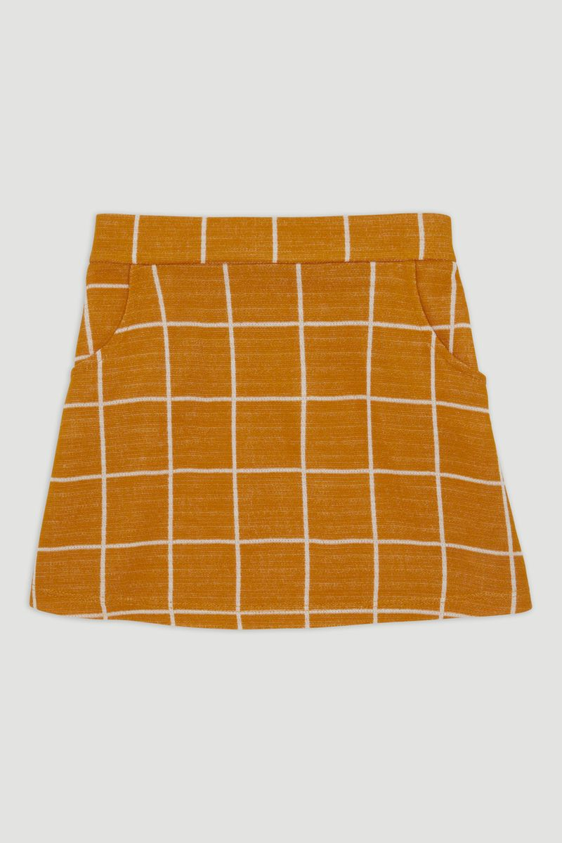 Ochre Check A-Line Skirt