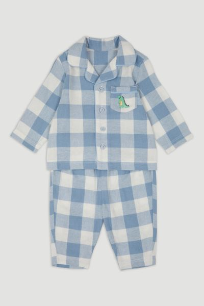 Blue Dinosaur Check Pyjamas
