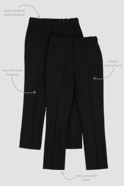 2 Pack Black Slim Leg Trousers