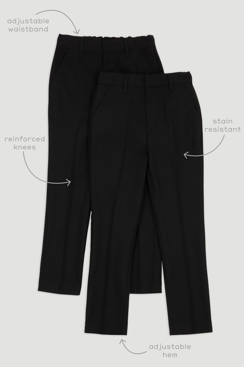 2 Pack Black Slim Leg Trousers