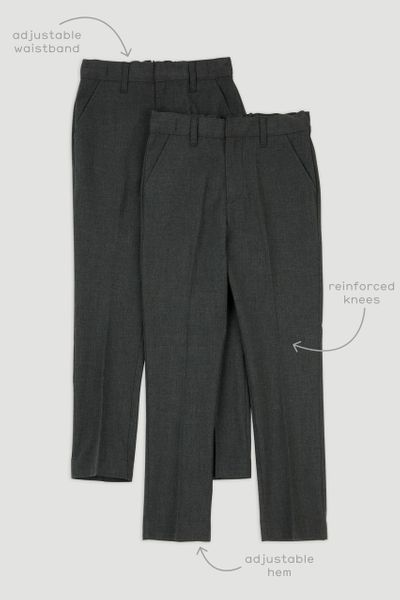 2 pack Charcoal Skinny Fit Trousers