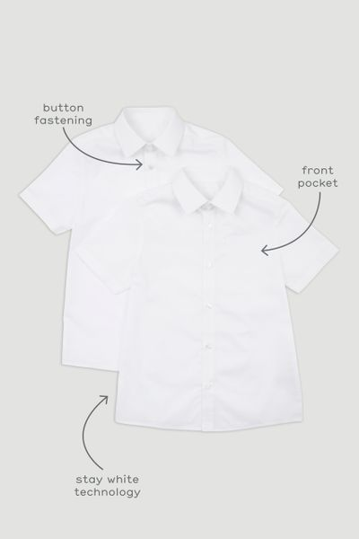 2 Pack Boys White Short Sleeve Shirts