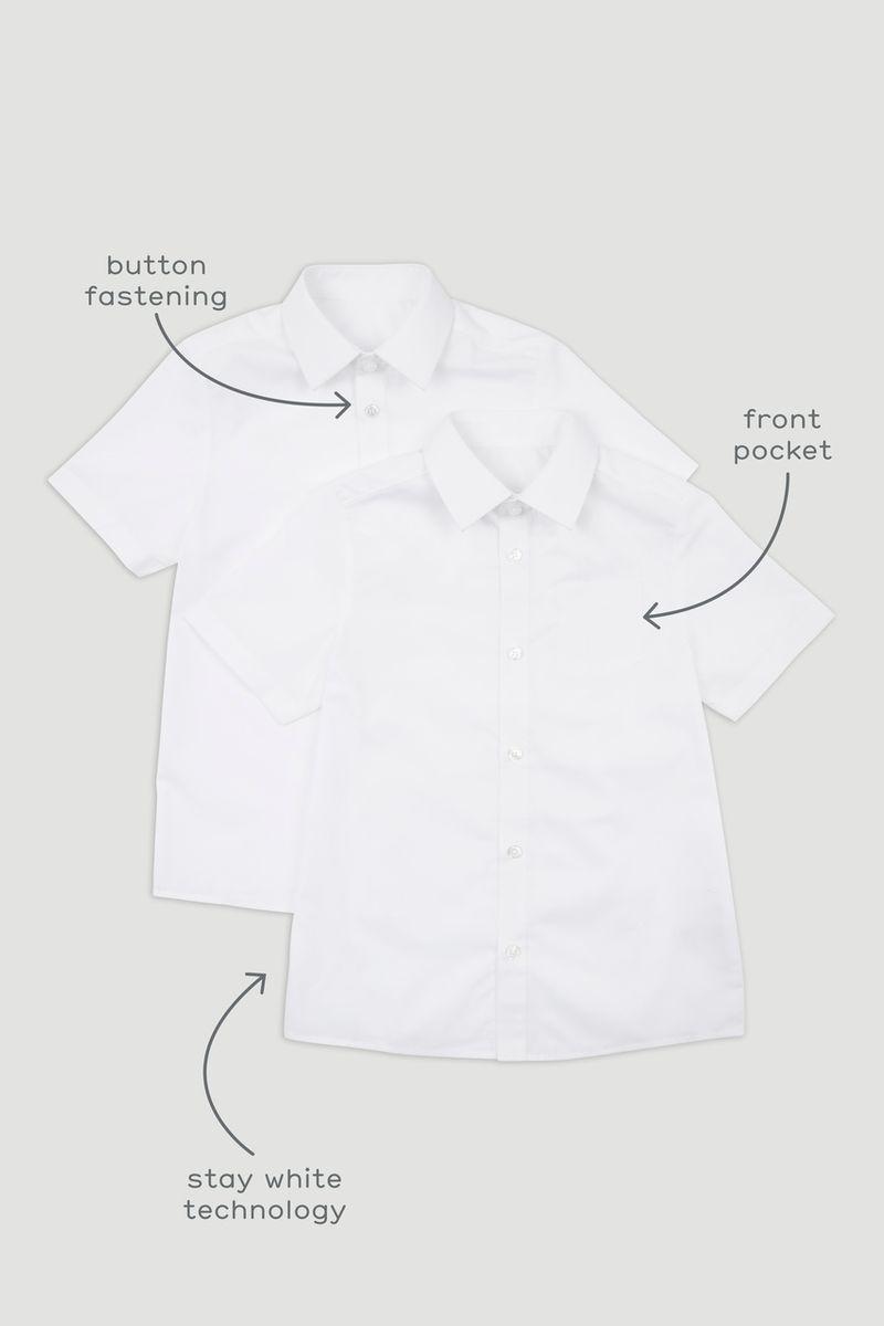 2 Pack Boys White Short Sleeve Shirts