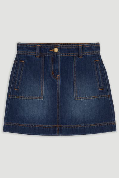 Mid-Wash Denim Skirt
