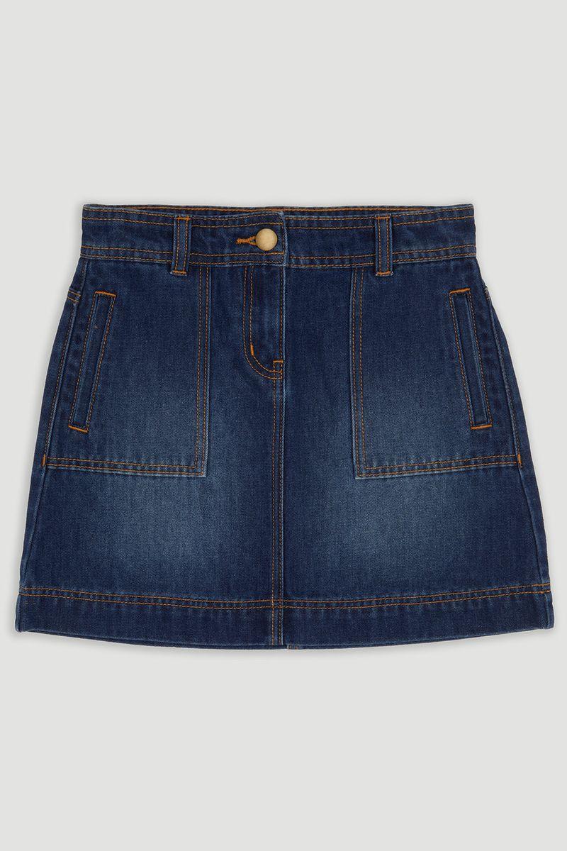 Mid-Wash Denim Skirt