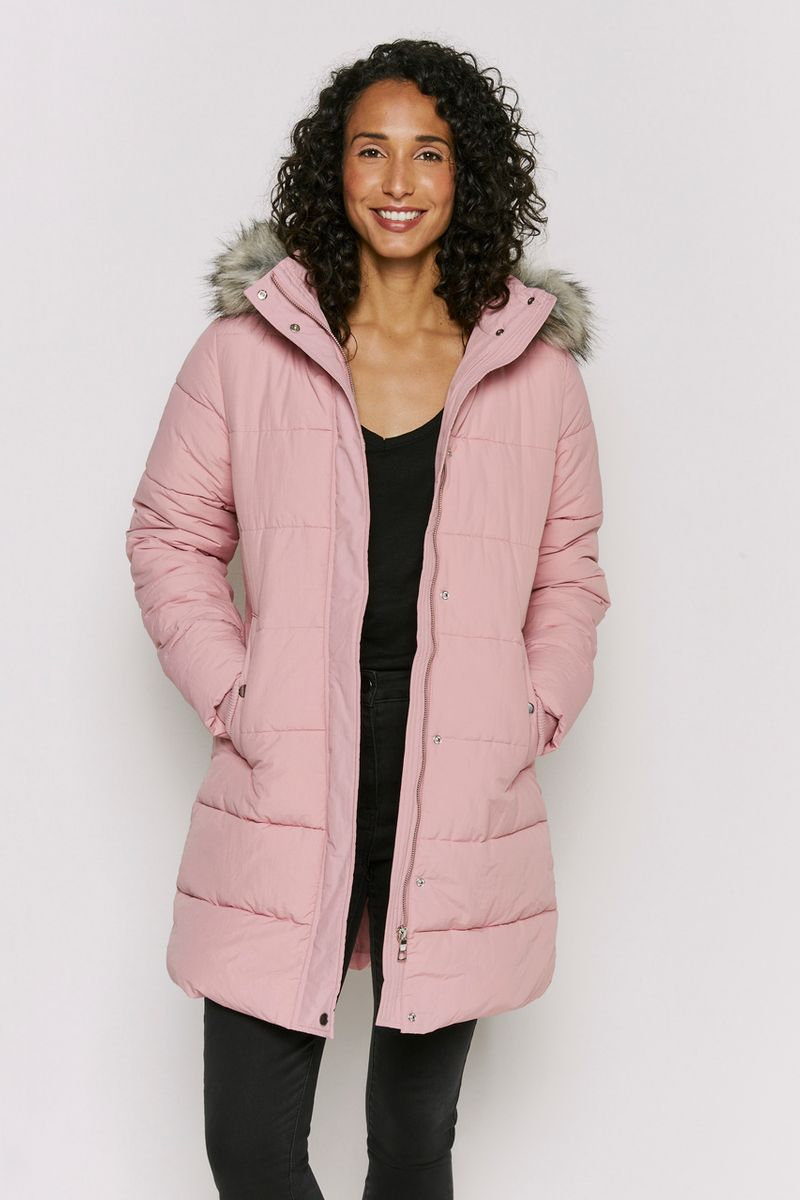 Padded Longline Pink Coat