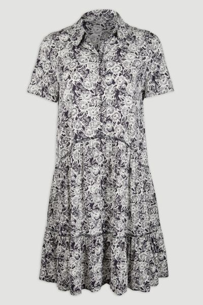 Navy Floral Shirt Dress