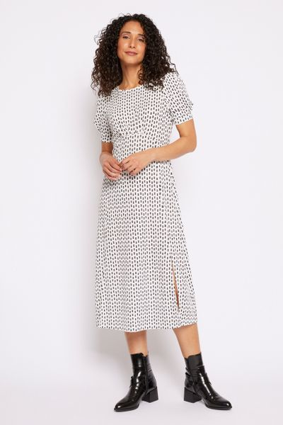 Monochrome Spot Print Dress